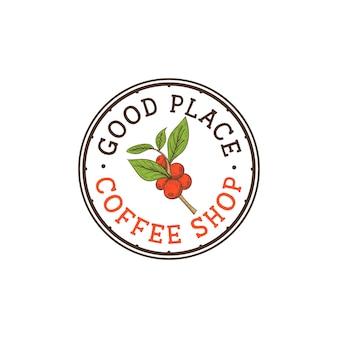Modèle de logo de café de branche rustique vintage