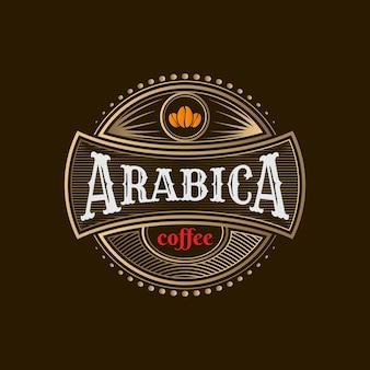 Modèle de logo de café doré vintage 02