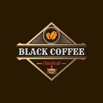 Modèle de logo de café doré vintage 03