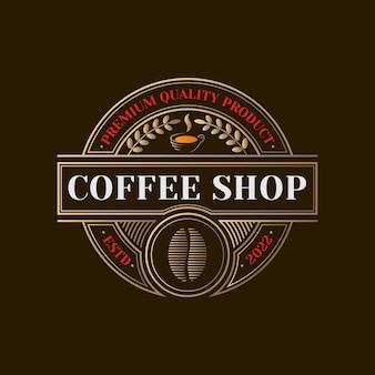 Modèle de logo de café doré vintage