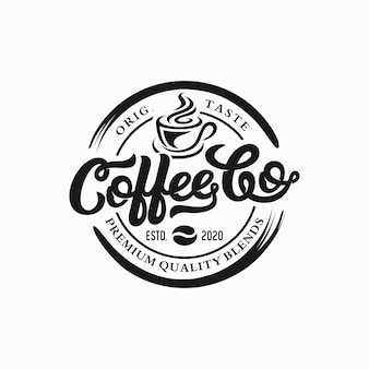 Modèle de logo de café. emblème de café rétro.