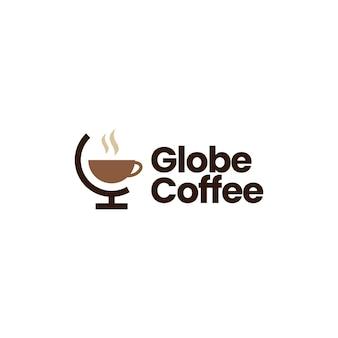 Modèle de logo de café globe