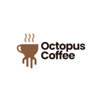 Modèle de logo de café de poulpe