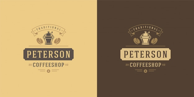 Modèle de logo de café avec silhouette de broyeur bon pour la conception d'insigne de café et la décoration de menu
