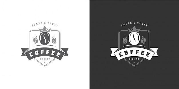 Modèle De Logo De Café Avec Silhouette De Haricot Bon Pour La Conception D'insigne De Café Et La Décoration De Menu Vecteur Premium