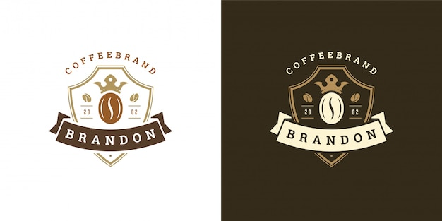 Modèle de logo de café avec silhouette de haricot bon pour la conception d'insigne de café et la décoration de menu