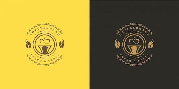 Modèle de logo de café ou de thé avec silhouette de haricot bon pour la conception d'insigne de café et la décoration de menu
