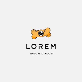 Modèle de logo de caméra de patte de chien