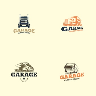 Modèle de logo camion rétro