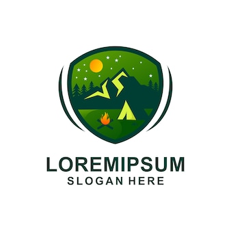Modèle de logo camping adventure