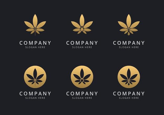 Modèle de logo de cannabis avec une couleur de style doré pour l'entreprise