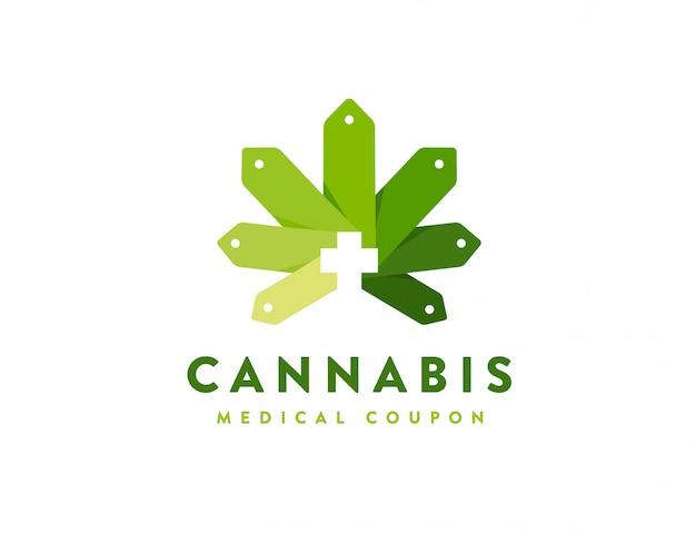 Modèle de logo de cannabis géométrique moderne