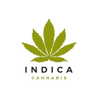 Modèle de logo de cannabis indica