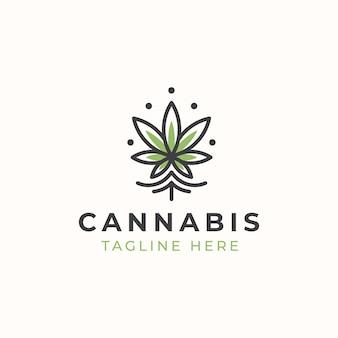 Modèle de logo de cannabis monoline.
