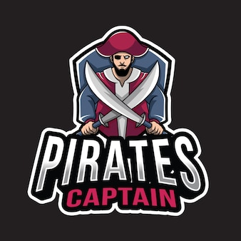 Modèle de logo de capitaine de pirates