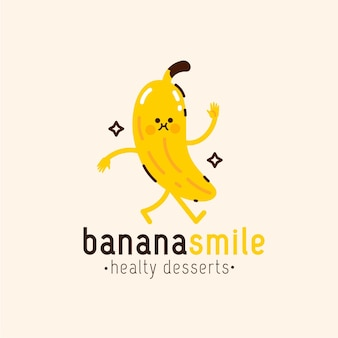 Modèle de logo de caractère banane