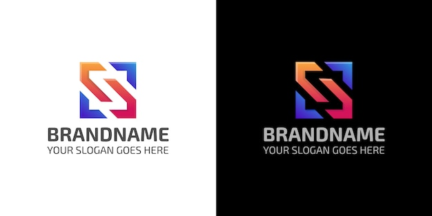 Modèle de logo carré abstrait coloré lettre s