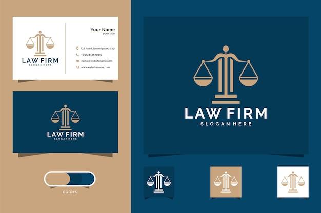 Modèle de logo de carte d'avocat et carte de visite