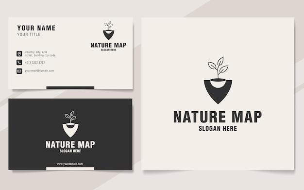 Modèle de logo de carte nature sur le style monogramme