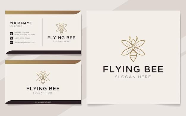 Modèle de logo et carte de visite d'abeille de luxe