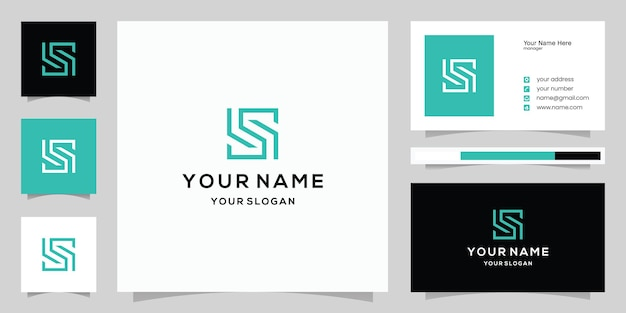 Modèle de logo et carte de visite abstrait monogramme moderne lettre s