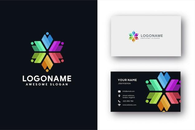 Modèle de logo et carte de visite abstrait de travail d'équipe