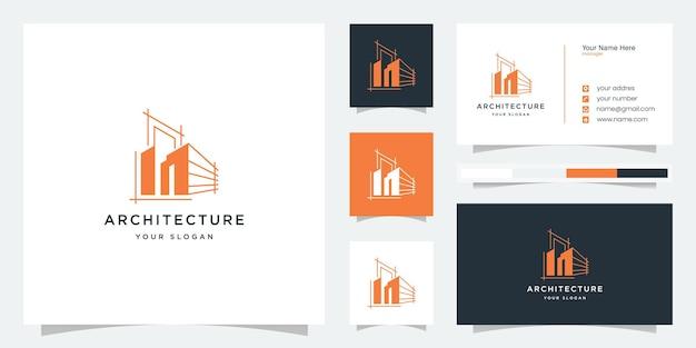 Modèle de logo et carte de visite d'architecture. logo de l'architecture