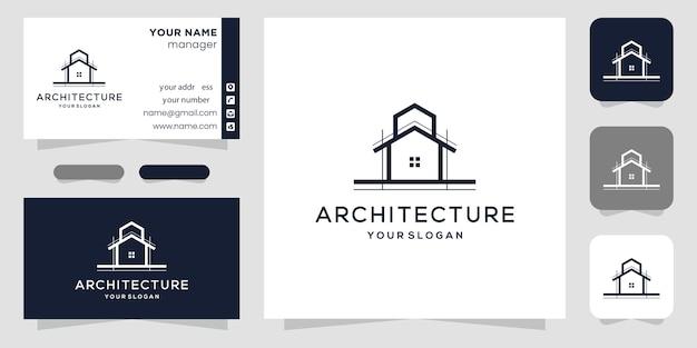 Modèle de logo et carte de visite d'architecture