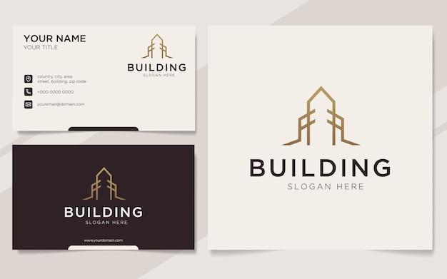 Modèle de logo et carte de visite de bâtiment de luxe