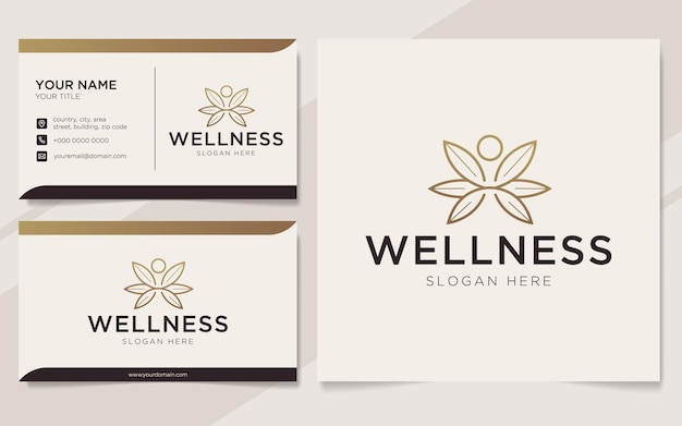 Modèle de logo et carte de visite de bien-être des personnes de luxe