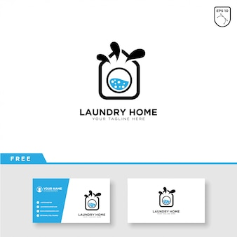 Modèle de logo et carte de visite de blanchisserie