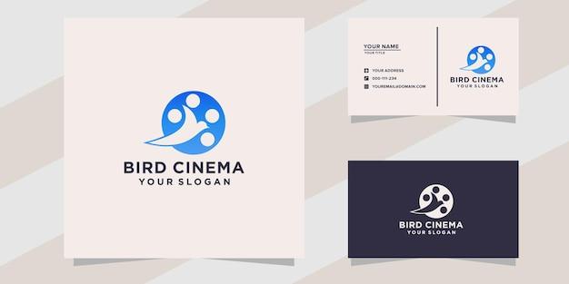 Modèle de logo et de carte de visite de cinéma d'oiseau