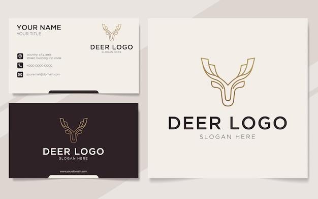 Modèle de logo et carte de visite de contour de cerf de luxe