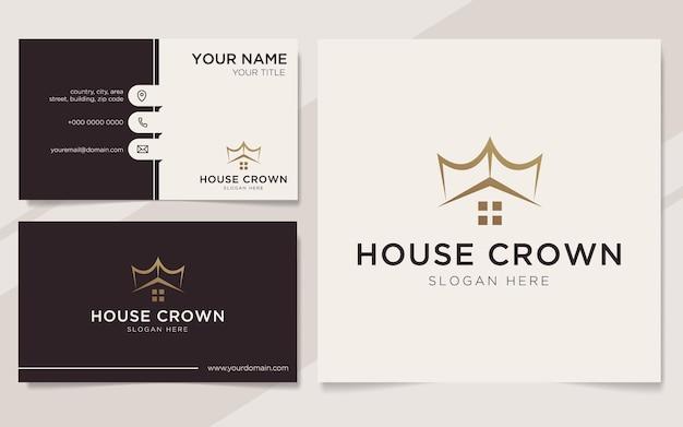 Modèle de logo et carte de visite de couronne de maison de luxe