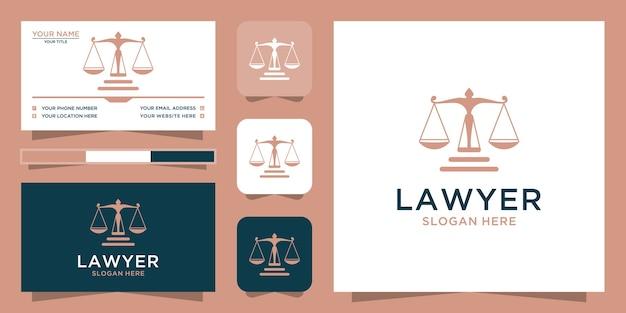 Modèle de logo et carte de visite de droit