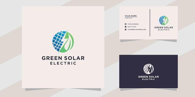Modèle de logo et carte de visite électrique solaire vert