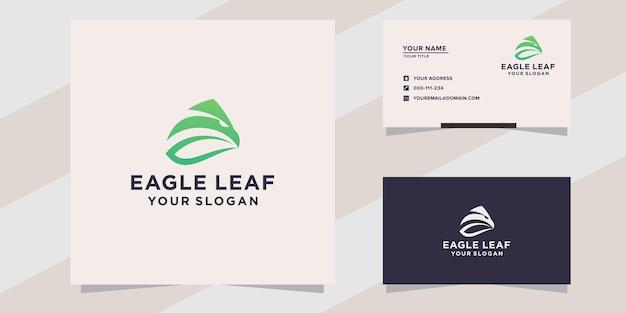 Modèle de logo et carte de visite de feuille d'aigle