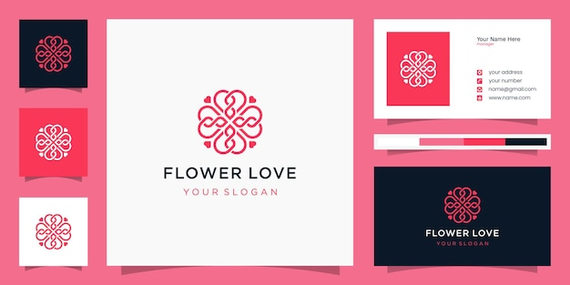 Modèle de logo et carte de visite fleur amour