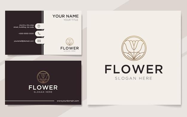 Modèle de logo et carte de visite de fleur de luxe