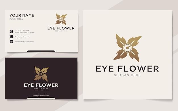 Modèle de logo et carte de visite de fleur d'oeil de luxe