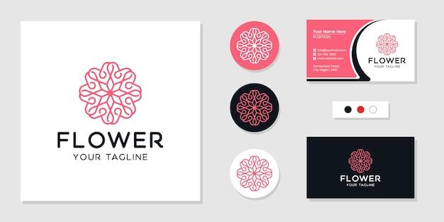 Modèle de logo et carte de visite de fleur