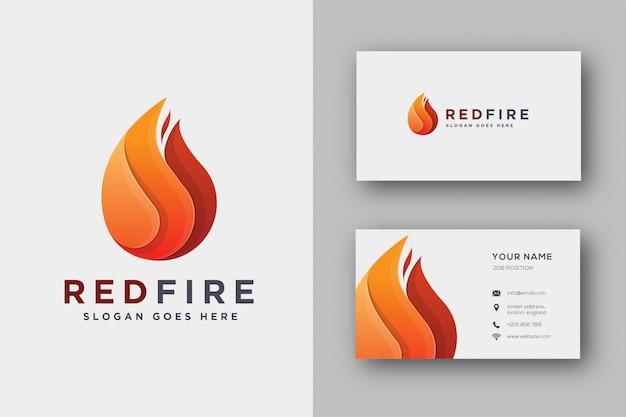 Modèle de logo et carte de visite d'incendie