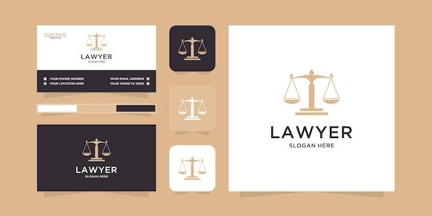 Modèle de logo et carte de visite juridique