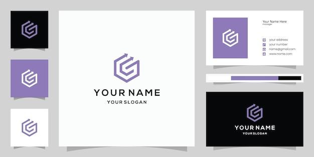 Modèle de logo et carte de visite lettre g flèche
