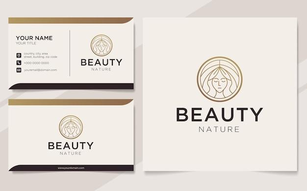Modèle de logo et carte de visite de luxe nature beauté
