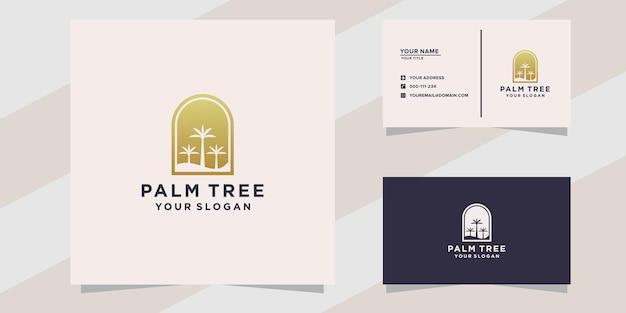 Modèle de logo et de carte de visite de palmier