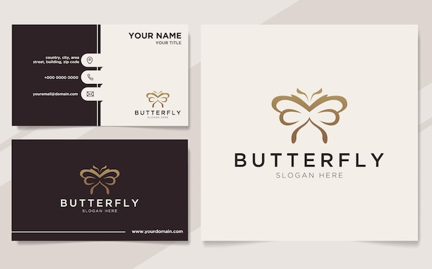 Modèle de logo et carte de visite papillon de luxe