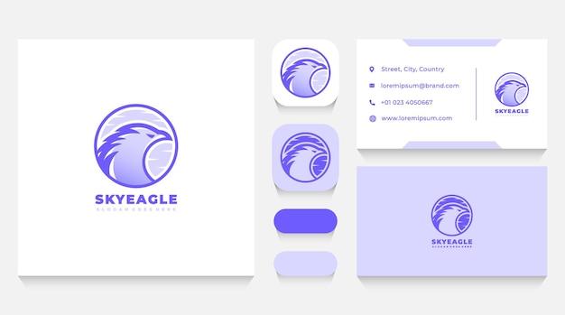 Modèle de logo et carte de visite sky eagle