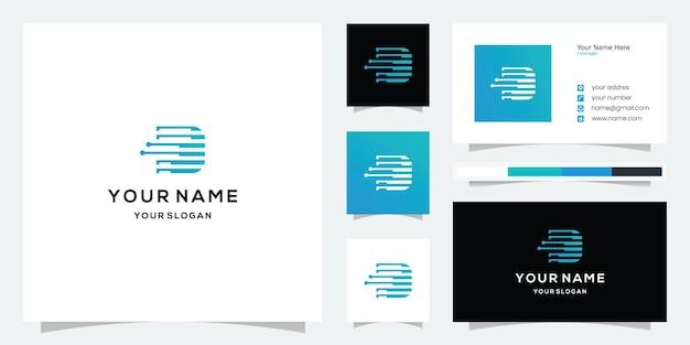 Modèle de logo et carte de visite de technologie lettre d ou f