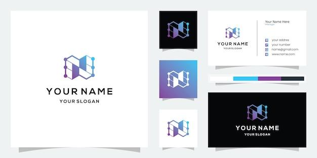 Modèle de logo et carte de visite de la technologie numérique moderne lettre n